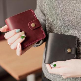 Компактный женский кожаный кошелек _бордовый карманный кошелек двойного сложения