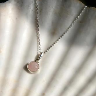 Серебряный кулон с розовым кварцем, подвеска с розовым кварцем,подарок