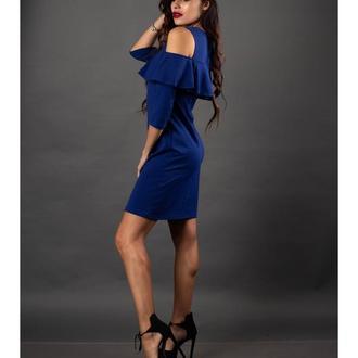 Прямое синее платье