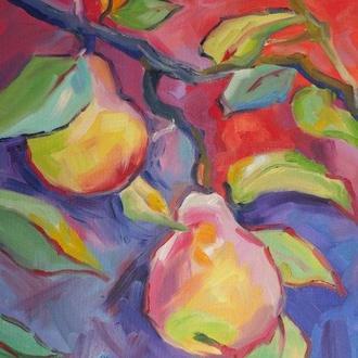 Картина масляными красками на холсте - Солнечная груша -