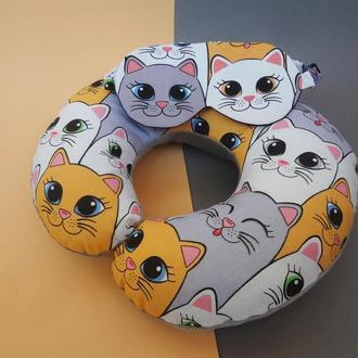 Комплект подушка для путешествий + маска для сна коты киев, набор для путешествия Харьков