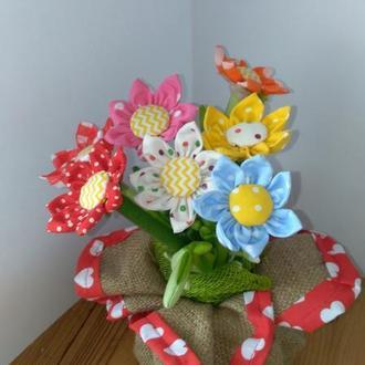 Текстильные цветы букет подарок цветы в упаковке цветы тильда