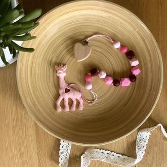 Грызунок на клипсе «Розовый жирафик»