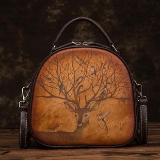 Кожаная сумка кросс-боді з розписом