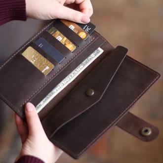 Большой вместительный кожаный кошелек_кошелек-клатч на кнопке из кожи
