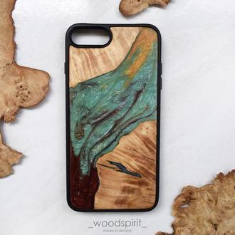 Деревянный чехол для iPhone 7 8 плюс из дерева и эпоксидной смолы ручная работа