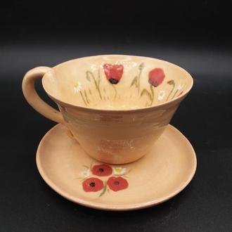 чашка керамическая с блюдцем