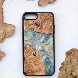 Деревянный чехол для iPhone 7 8 плюс из натурального дерева и эпоксидной смолы ручная работа