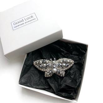 Брошка бабочка, серебреная брошь из бисера, брошь ручной работы, брошка метелик, брошка з бісеру