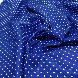 Ткань хлопок синий горошек
