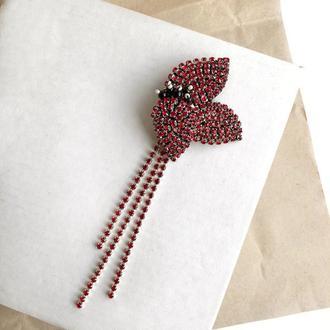 Моносерьга, моносережка, стразовые серьги, стразові сережки, сережка цветок, сережки из камней