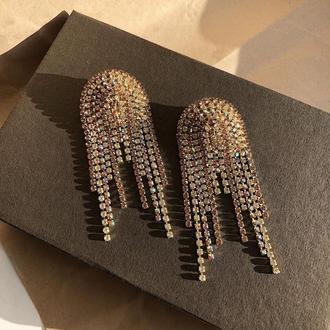 Стразовые серёжки, серьги со стразами, сережки из камней, стразові сережки
