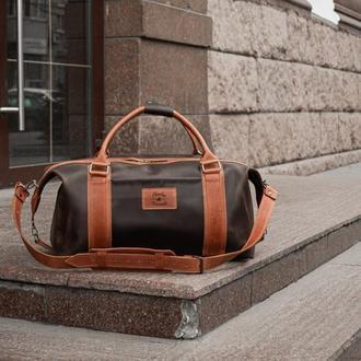 Коричневая кожаная спортивная сумка, Дорожная сумка из винтажной кожи
