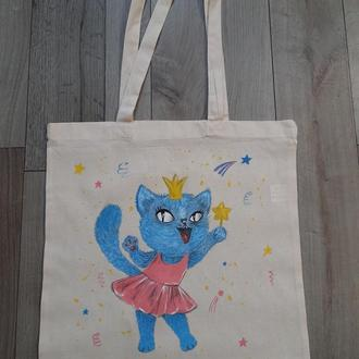Эко-сумка из хлопка Кошечка