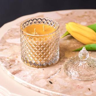 Свеча с пчелинного воска натуральная, медовая свеча в банке, оригинальный подарок