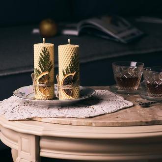Нежные натуральные декорированые свечи из вощины для декора и отличного интересного подарка