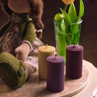 Подарочный набор из 3 свечей Натуральные гипоаллергенные медовые свечи из вощины