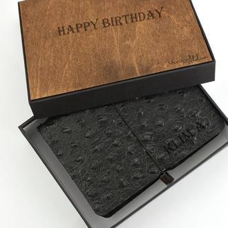 Кожаный мужской блокнот Именной кожаный блокнот Чёрный блокнот