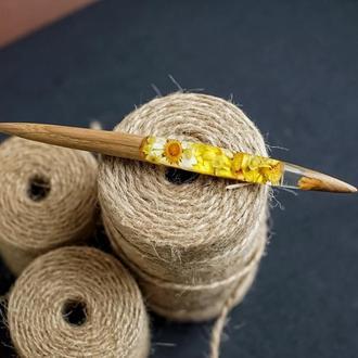 Шпилька из дерева, палочка для волос, заколка ручной работы, эпоксидная смола и живые цветы, подарок