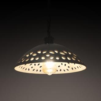 """Светильник потолочный, подвес, лофт """"GRAZIA"""" 1х60 Вт,Е27.арт.333, керамика, белый глянец, цепь ч"""