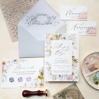 """Свадебные приглашения карточка для дресс кода """"Акварельные цветы"""" минимализм"""