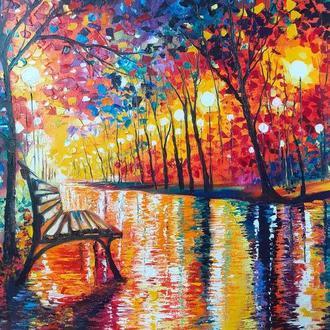 """Картина маслом """"Осенний парк"""""""