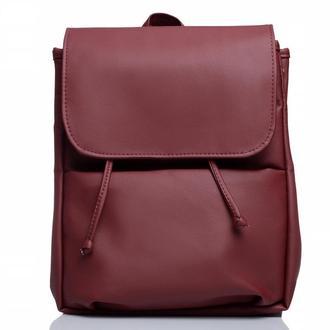 Бордовый женский вместительный рюкзак, экокожа