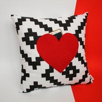 Декоративная подушка с кармашком-сердце для записок, подушка на свадьбу