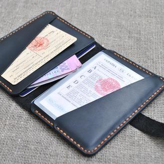 Водительское портмоне из натуральной кожи ручной работы D02-0+orange