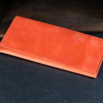 """Кожаный кошелек, клатч """"Молодежный"""", кожа Crazy Horse, цвет Красный"""