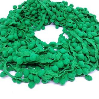 Тесьма с помпонами зеленая