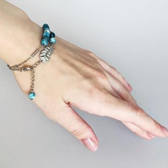Браслет-чокер с голубым апатитом Синий браслет Браслет-намотка (модель № 297) JK jewelry