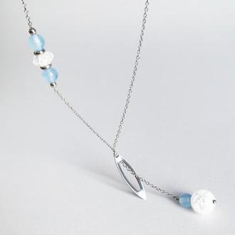 Витончена підвіска з аквамарину і гірського кришталю (модель № 598) JK jewelry
