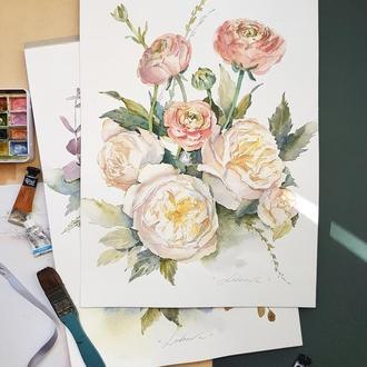"""Картина аквареллю ботанічна ілюстрація """"Ніжний букет"""""""