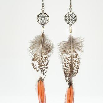 Серьги ловцы снов с натуральными перьями