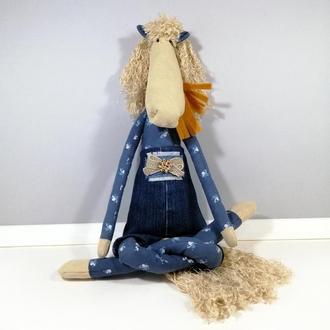 Мягкая Лошадь в комбинезоне Тильда лошадка Игрушка мягкий конь