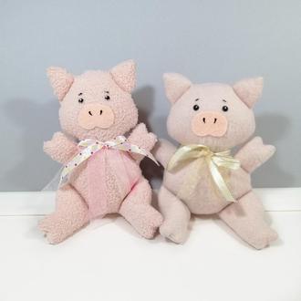 Розовый поросенок Мягкая игрушка хрюша Розовый декор Свинка с бантиком