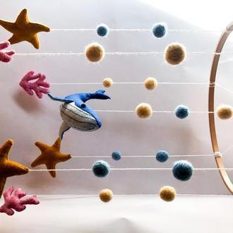"""Мобиль на кроватку """"Морское странствие"""" Морской мобиль Детский декор Детская комната Мобиль с китом"""