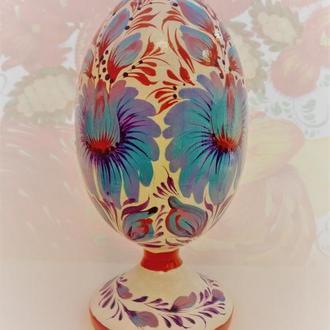 Подарочное пасхальное яйцо писанка на подставке  роспись