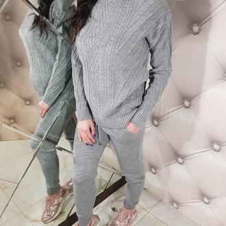 Женский модный серый вязаный костюм
