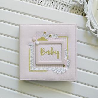Детский альбом, беби-бук для девочки, пудровый детский альбом, розово-золотой альбом для малышки