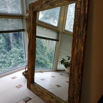 Зеркало в деревянной раме, в стиле LOFT, арт. «030».