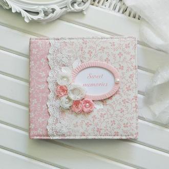 Детский фотоальбом на годик, беби-бук для девочки, альбом для новорожденной, розовый альбом
