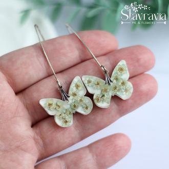 Сережки метелики з м'ятними сухими квітами на білому фоні • серьги бабочки з цветами в смоле