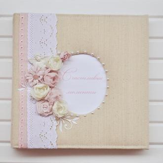 Фотоальбом в стиле шебби шик, свадебный альбом, детский альбом, пудровый фотоальбом