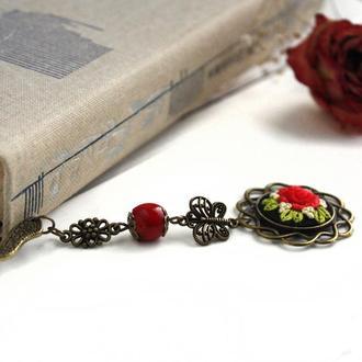 Закладка для книг металлическая Закладка с розой и кораллом Романтический подарок для книголюба