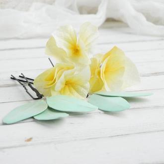 Шпильки для волос с цветами / Мятные и желтые шпильки в прическу невесте