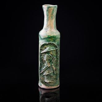 Ваза Самурай зеленая керамическая глиняная ваза handmade винтажная арт деко