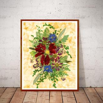 Цветочная фантазия, композиция из засушенных цветов и листьев