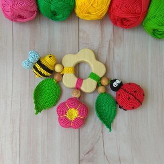 Развивающая игрушка Цветочек, погремушка, для мелкой моторики